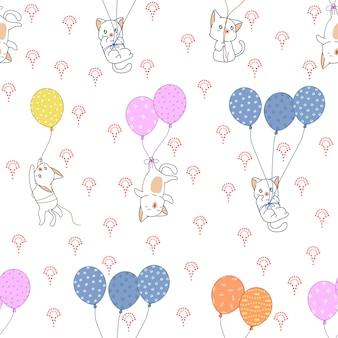 Gato inconsútil y patrón de globos de colores.