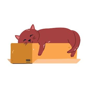 Gato de jengibre cansado para dormir en una caja. ilustración plana.