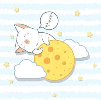 El gato kawaii está abrazando a la luna en estilo de dibujos animados.