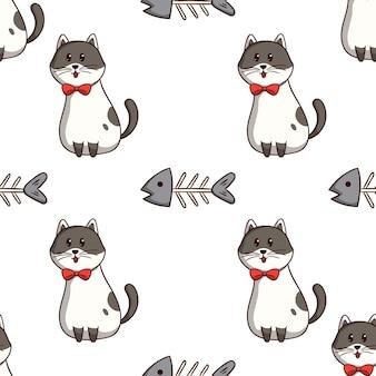 Gato kawaii con espina de pescado en un patrón sin costuras con estilo doodle de colores sobre fondo blanco