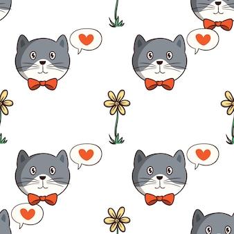 Gato kawaii con flor en un patrón sin costuras con estilo doodle de colores sobre fondo blanco