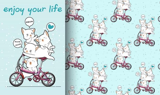 El gato kawaii inconsútil está montando una bicicleta con el patrón de amigos