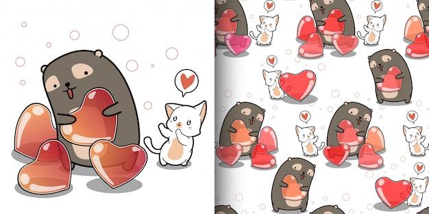 Gato kawaii de patrones sin fisuras con corazón