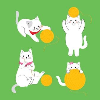 Gato lindo de las acciones de la historieta que juega vector amarillo del hilado.