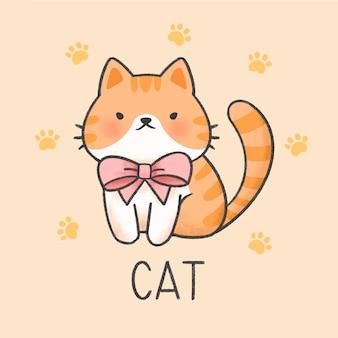 Gato lindo estilo dibujado a mano de dibujos animados