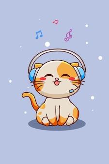 Gato lindo y feliz escuchando música con ilustración de dibujos animados de auriculares
