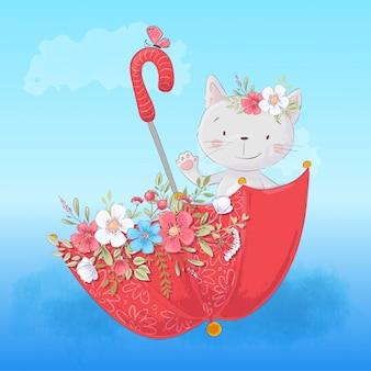 Gato lindo de la historieta en un paraguas con flores