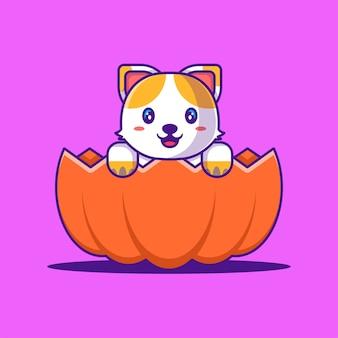 Gato lindo en la ilustración de dibujos animados de calabaza de halloween. concepto de estilo de dibujos animados planos de halloween