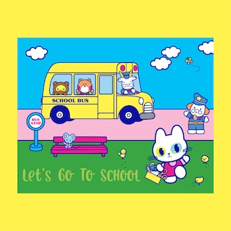 Gato lindo que va a la ilustración del cartel de la escuela con diseño de fondo del autobús escolar