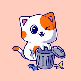 Gato lindo que juega en el ejemplo del icono del vector de la historieta de la basura del cubo de basura. concepto de icono de naturaleza animal aislado vector premium. estilo de dibujos animados plana