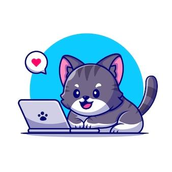 Gato lindo que trabaja en la ilustración del icono de la historieta del ordenador portátil.
