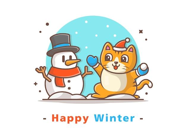 Gato y muñeco de nieve en invierno