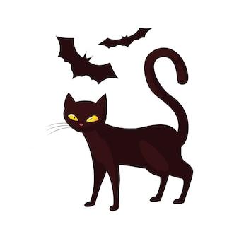 Gato murciélagos feliz celebración de halloween
