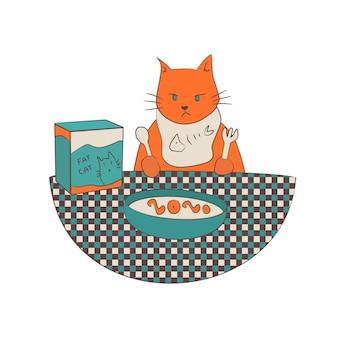 Gato naranja gruñón comiendo en la mesa