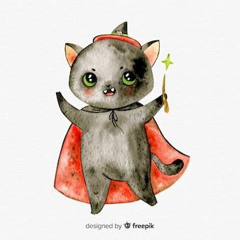 Gato negro adorable de halloween en acuarela