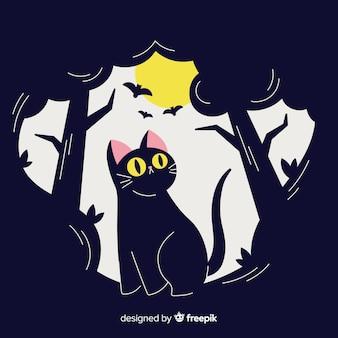 Gato negro adorable de halloween dibujado a mano