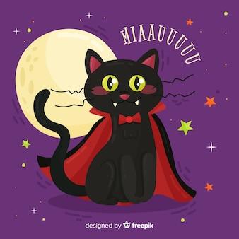 Gato negro adorable de halloween con diseño plano
