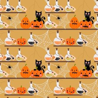 Gato negro, calabazas de halloween y patrones sin fisuras veneno