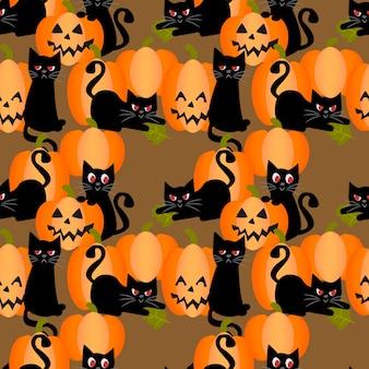 Gato negro y calabazas de halloween de patrones sin fisuras