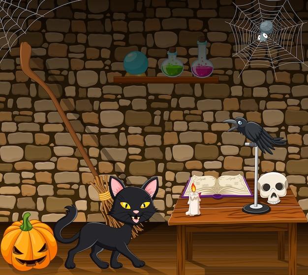 Gato negro de dibujos animados en la casa de la bruja