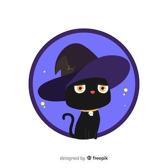Gato negro de halloween dibujado a mano