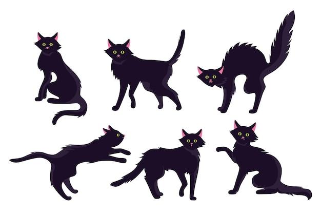 Gato negro horror conjunto de dibujos animados planos halloween espeluznante gatito delgado lindo o aterrador malvados viejos gatos salvajes