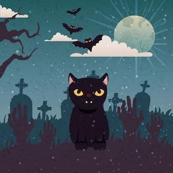 Gato negro con manos zombie e iconos en escena halloween