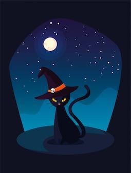Gato negro con sombrero de bruja en escena de halloween