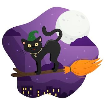 Un gato negro con sombrero en una escoba sobrevuela las casas de la ciudad en la noche de halloween.