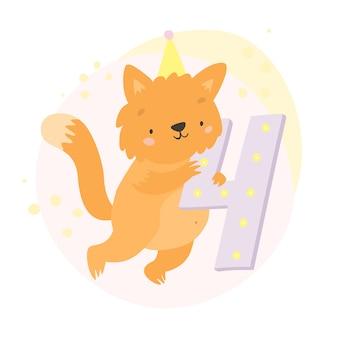 Gato y numero cuatro