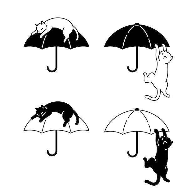 Gato, paraguas, icono, carácter, caricatura