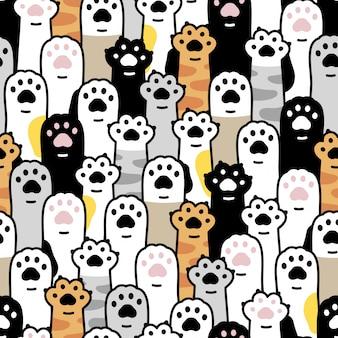 Gato pata gatito huella dibujos animados de patrones sin fisuras