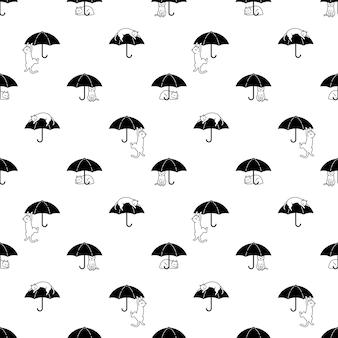 Gato de patrones sin fisuras calicó gatito dibujos animados paraguas lluvia