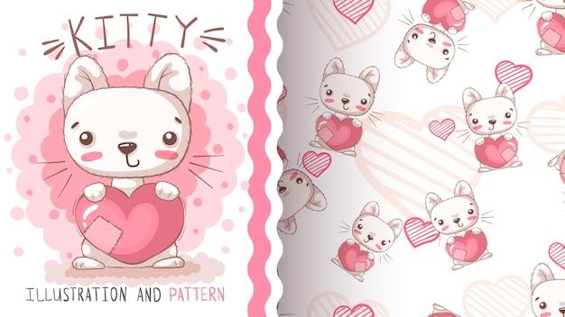 Gato con patrones sin fisuras de corazón. dibujar a mano