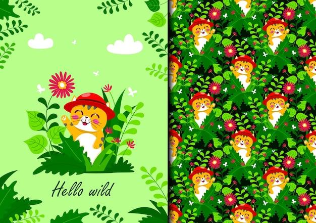 Gato de patrones sin fisuras dibujado a mano escondido detrás de las plantas