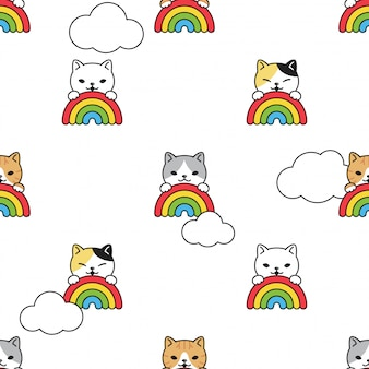 Gato de patrones sin fisuras gatito arco iris cielo nube cartoon mascota ilustración