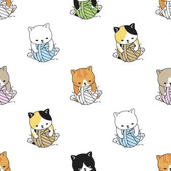 Gato de patrones sin fisuras gatito bola de hilo ilustración de dibujos animados
