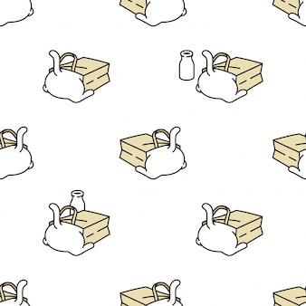 Gato de patrones sin fisuras gatito bolsa de papel mascota de dibujos animados