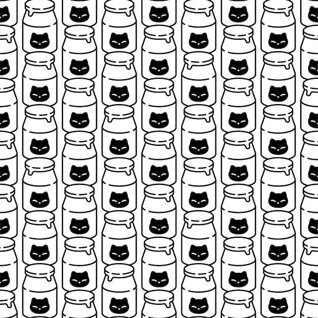 Gato de patrones sin fisuras gatito botella de leche personaje de dibujos animados
