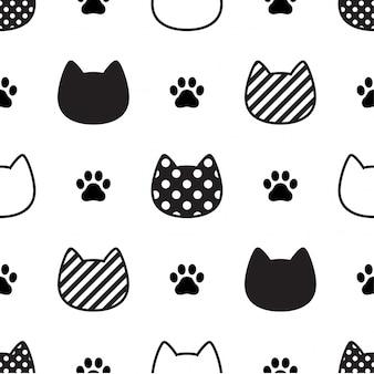 Gato de patrones sin fisuras gatito cabeza pata huella ilustración