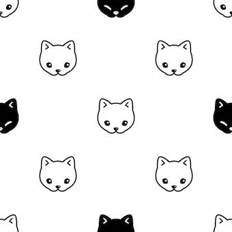 Gato de patrones sin fisuras gatito calico cara ilustración dibujos animados