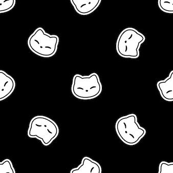 Gato de patrones sin fisuras gatito cara cartoon