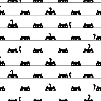 Gato de patrones sin fisuras gatito dibujos animados mascota ilustración