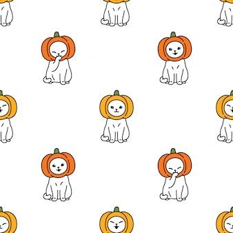Gato de patrones sin fisuras gatito de halloween cabeza de calabaza cartoon