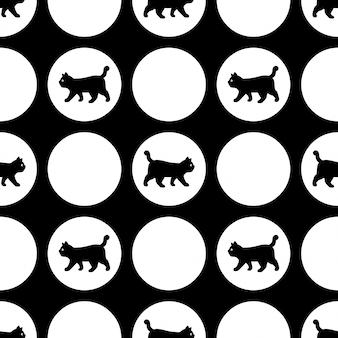 Gato de patrones sin fisuras gatito lunares dibujos animados mascota ilustración