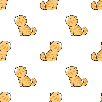 Gato de patrones sin fisuras gatito mascota de dibujos animados ilustración