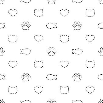 Gato de patrones sin fisuras gatito pata huella pez corazón línea de trazos
