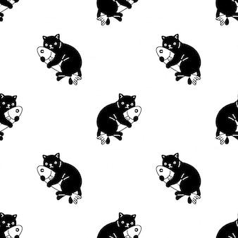 Gato de patrones sin fisuras gatito pez cartoon ilustración