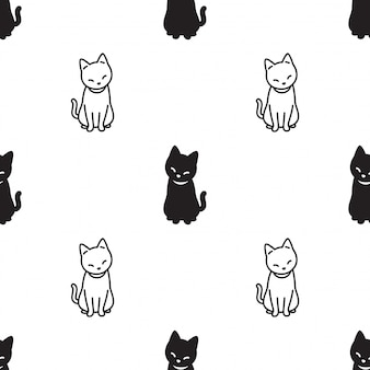 Gato de patrones sin fisuras gatito sentado cartoon