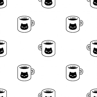 Gato de patrones sin fisuras gatito taza de café mascota de dibujos animados